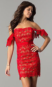 Image of off-the-shoulder short red lace holiday dress. Style: AC-DA23953B Front Image