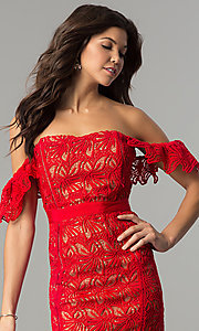 Image of off-the-shoulder short red lace holiday dress. Style: AC-DA23953B Detail Image 1