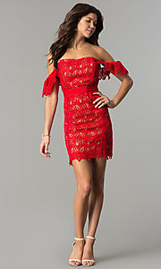 Image of off-the-shoulder short red lace holiday dress. Style: AC-DA23953B Detail Image 2