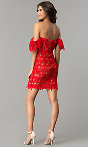 Image of off-the-shoulder short red lace holiday dress. Style: AC-DA23953B Detail Image 3