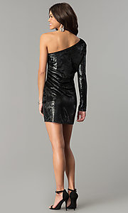 Image of one-shoulder short black velvet holiday dress.  Style: AC-DH24116A Detail Image 3