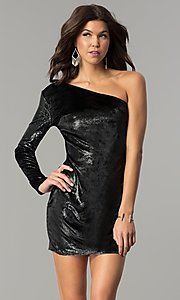 Image of one-shoulder short black velvet holiday dress.  Style: AC-DH24116A Front Image