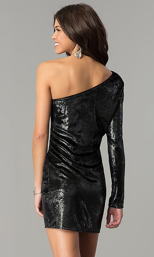 Image of one-shoulder short black velvet holiday dress.  Style: AC-DH24116A Back Image