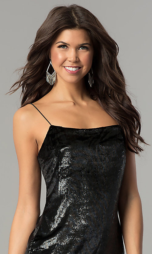Image of velvet black short holiday party dress. Style: AC-DH24118A Detail Image 1