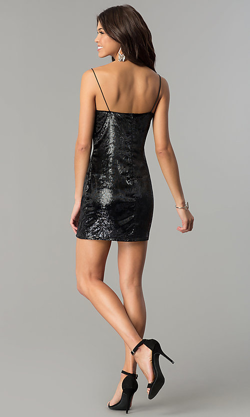 Image of velvet black short holiday party dress. Style: AC-DH24118A Detail Image 3