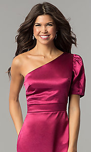 Image of one-shoulder short magenta pink holiday party dress.  Style: AC-DH24128A Detail Image 1