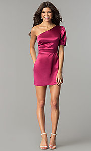 Image of one-shoulder short magenta pink holiday party dress.  Style: AC-DH24128A Detail Image 2
