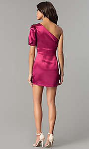 Image of one-shoulder short magenta pink holiday party dress.  Style: AC-DH24128A Detail Image 3