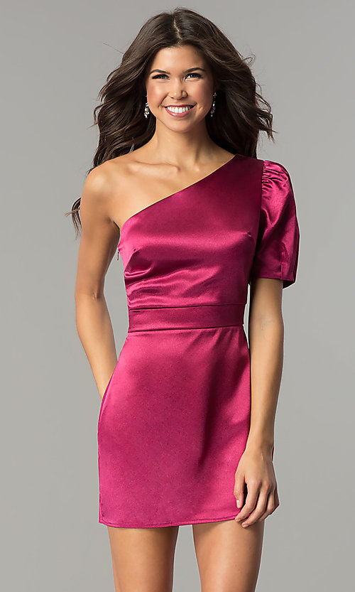 Image of one-shoulder short magenta pink holiday party dress.  Style: AC-DH24128A Front Image
