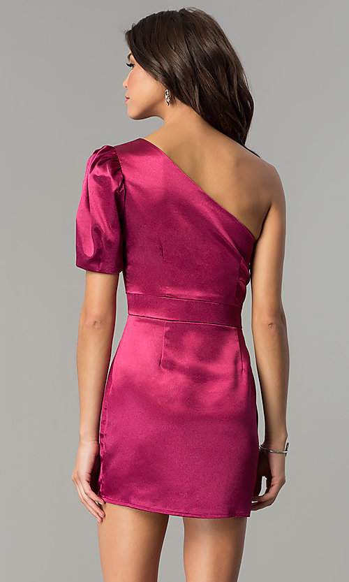Image of one-shoulder short magenta pink holiday party dress.  Style: AC-DH24128A Back Image