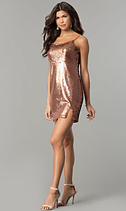 Image of short reversible-sequin holiday party dress. Style: AC-DH24140A Detail Image 1