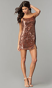 Image of short reversible-sequin holiday party dress. Style: AC-DH24140A Detail Image 3