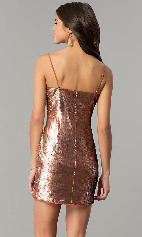 Image of short reversible-sequin holiday party dress. Style: AC-DH24140A Back Image