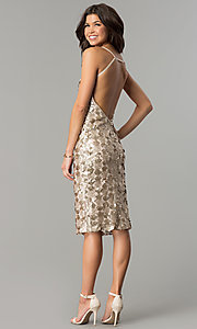 Image of light mocha gold sequin short party dress. Style: AC-DS23978T Detail Image 3