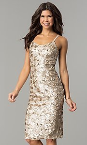 Image of light mocha gold sequin short party dress. Style: AC-DS23978T Front Image