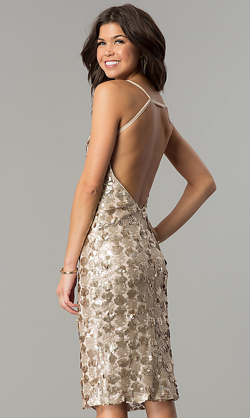 Image of light mocha gold sequin short party dress. Style: AC-DS23978T Back Image