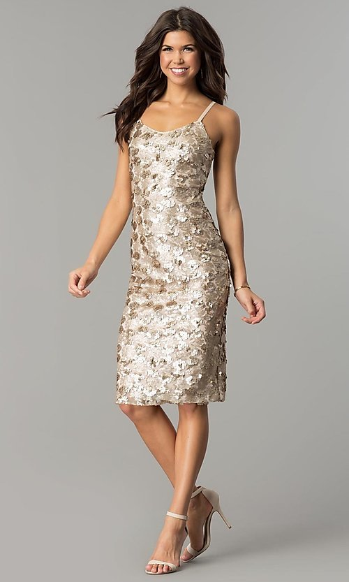 Image of light mocha gold sequin short party dress. Style: AC-DS23978T Detail Image 2