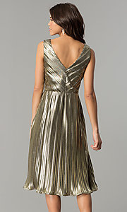 Image of short v-neck gold midi semi-formal party dress. Style: AC-DS24048B Back Image