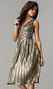 Image of short v-neck gold midi semi-formal party dress. Style: AC-DS24048B Front Image