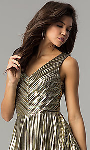 Image of short v-neck gold midi semi-formal party dress. Style: AC-DS24048B Detail Image 1