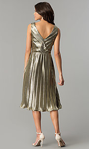 Image of short v-neck gold midi semi-formal party dress. Style: AC-DS24048B Detail Image 3