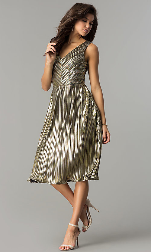Image of short v-neck gold midi semi-formal party dress. Style: AC-DS24048B Detail Image 2