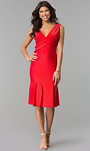 Image of empire-waist short red holiday party dress. Style: JU-MA-264831 Front Image