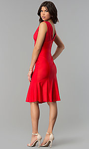 Image of empire-waist short red holiday party dress. Style: JU-MA-264831 Back Image