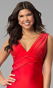 Image of empire-waist short red holiday party dress. Style: JU-MA-264831 Detail Image 1