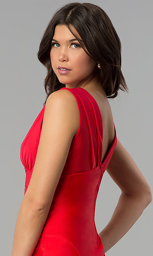 Image of empire-waist short red holiday party dress. Style: JU-MA-264831 Detail Image 2