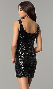 Image of black sequin short holiday party dress. Style: AS-i5284f20a4 Back Image