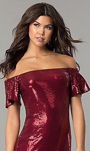 Image of bell-sleeve burgundy red short sequin holiday dress. Style: AS-a6495898 Detail Image 1