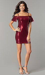 Image of bell-sleeve burgundy red short sequin holiday dress. Style: AS-a6495898 Detail Image 3