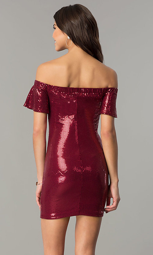 Image of bell-sleeve burgundy red short sequin holiday dress. Style: AS-a6495898 Back Image