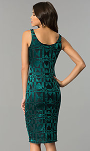Image of velvet-print short wedding-guest party dress. Style: AS-47086961 Back Image