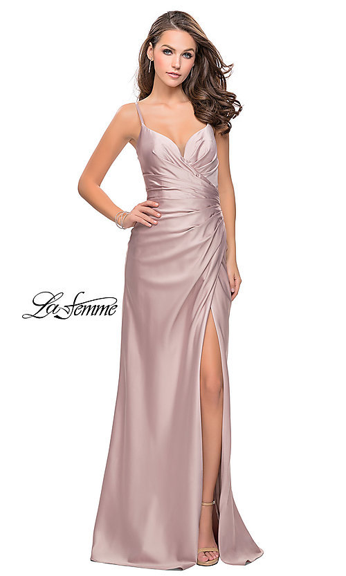Image of open-back La Femme long satin prom dress. Style: LF-25270 Detail Image 1