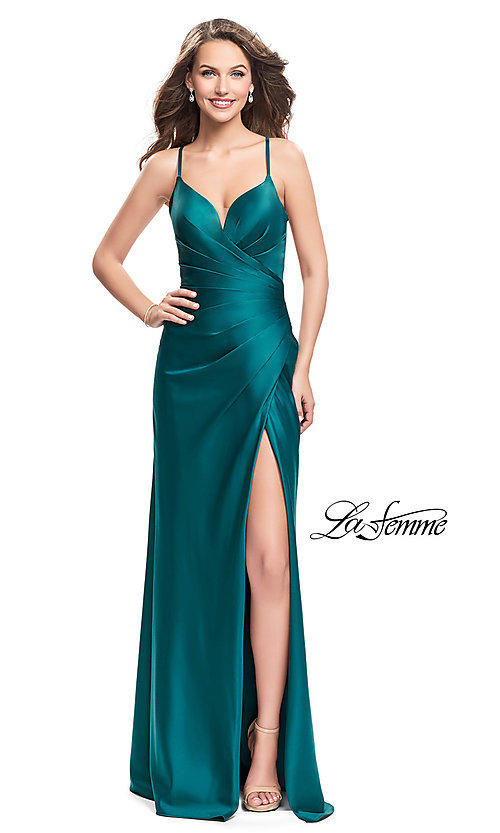 Image of open-back La Femme long satin prom dress. Style: LF-25270 Front Image