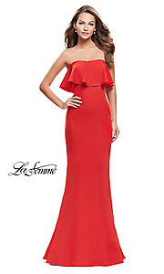 Image of La Femme long strapless ruffled-flounce prom dress. Style: LF-25419 Front Image