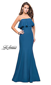 Image of La Femme long strapless ruffled-flounce prom dress. Style: LF-25419 Detail Image 2