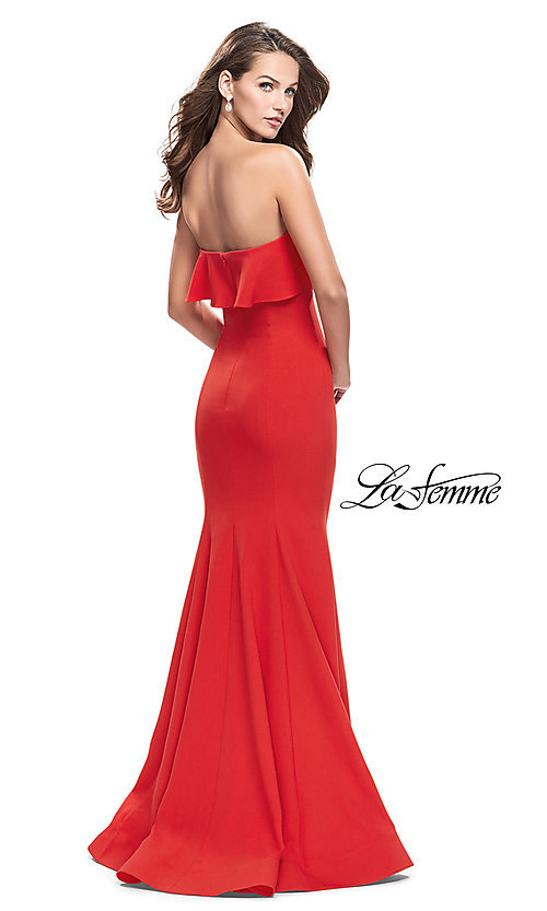 Image of La Femme long strapless ruffled-flounce prom dress. Style: LF-25419 Back Image
