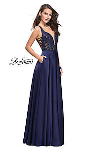 Image of open-back illusion-bodice prom dress by La Femme. Style: LF-25436 Front Image