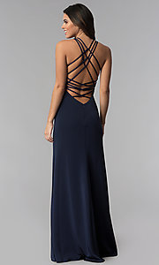 Image of long open-back high-neck La Femme prom dress. Style: LF-25439 Front Image