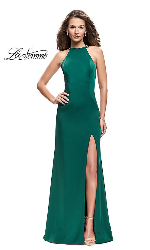 Image of long open-back high-neck La Femme prom dress. Style: LF-25439 Detail Image 3