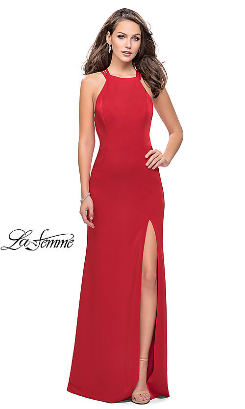 Image of long open-back high-neck La Femme prom dress. Style: LF-25439 Detail Image 1