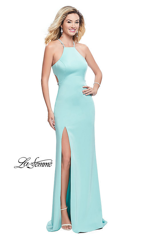 Image of open-back La Femme long formal dress with beading. Style: LF-25459 Detail Image 2