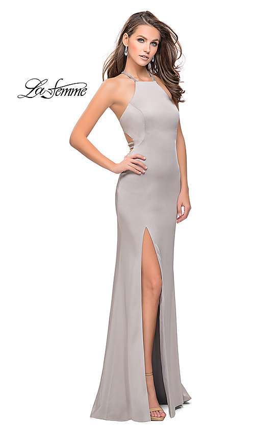 Image of open-back La Femme long formal dress with beading. Style: LF-25459 Front Image