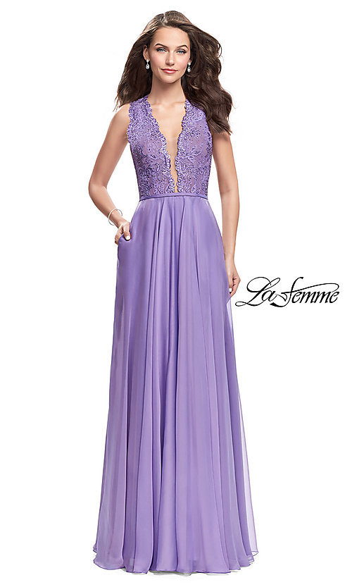 26819e0abff Image of La Femme long formal prom dress with lace bodice. Style  LF-