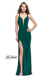 Image of La Femme long v-neck prom dress with caged open back. Style: LF-25504 Detail Image 1