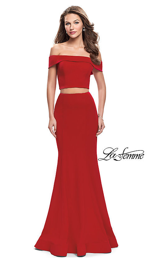 Image of La Femme Off-the-Shoulder Two-Piece Prom Dress. Style: LF-25578 Front Image