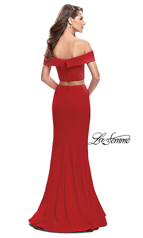 Image of La Femme Off-the-Shoulder Two-Piece Prom Dress. Style: LF-25578 Back Image